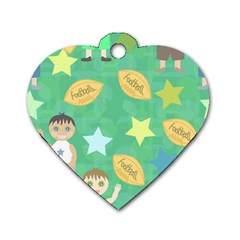Football Kids Children Pattern Dog Tag Heart (One Side)