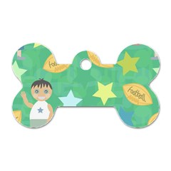 Football Kids Children Pattern Dog Tag Bone (Two Sides)