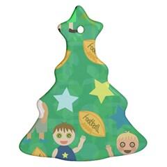 Football Kids Children Pattern Christmas Tree Ornament (Two Sides)