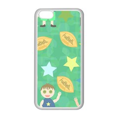 Football Kids Children Pattern Apple iPhone 5C Seamless Case (White)