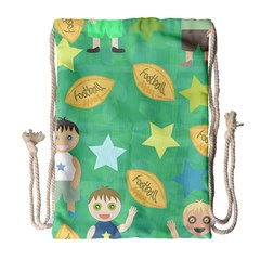 Football Kids Children Pattern Drawstring Bag (Large)