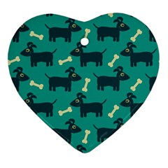 Happy Dogs Animals Pattern Ornament (heart)