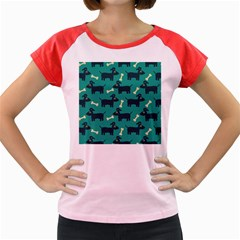 Happy Dogs Animals Pattern Women s Cap Sleeve T-Shirt
