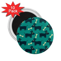 Happy Dogs Animals Pattern 2.25  Magnets (10 pack)