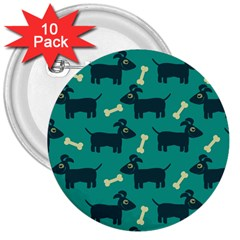 Happy Dogs Animals Pattern 3  Buttons (10 Pack)