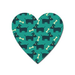 Happy Dogs Animals Pattern Heart Magnet