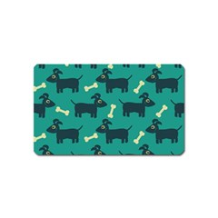 Happy Dogs Animals Pattern Magnet (Name Card)