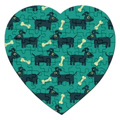 Happy Dogs Animals Pattern Jigsaw Puzzle (Heart)