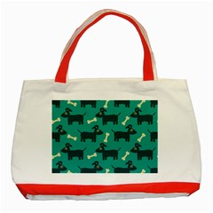 Happy Dogs Animals Pattern Classic Tote Bag (red)