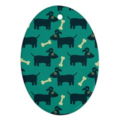 Happy Dogs Animals Pattern Oval Ornament (Two Sides)
