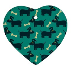 Happy Dogs Animals Pattern Heart Ornament (Two Sides)