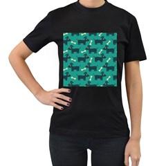 Happy Dogs Animals Pattern Women s T Shirt (black)