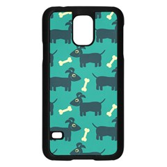 Happy Dogs Animals Pattern Samsung Galaxy S5 Case (Black)