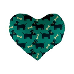 Happy Dogs Animals Pattern Standard 16  Premium Flano Heart Shape Cushions