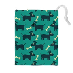 Happy Dogs Animals Pattern Drawstring Pouches (Extra Large)