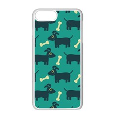 Happy Dogs Animals Pattern Apple Iphone 7 Plus White Seamless Case