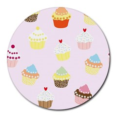 Seamless Cupcakes Wallpaper Pattern Background Round Mousepads