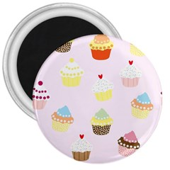 Seamless Cupcakes Wallpaper Pattern Background 3  Magnets