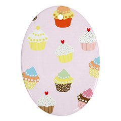 Seamless Cupcakes Wallpaper Pattern Background Ornament (oval)