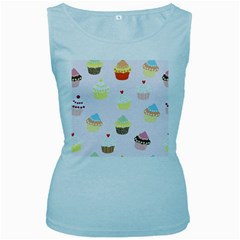 Seamless Cupcakes Wallpaper Pattern Background Women s Baby Blue Tank Top