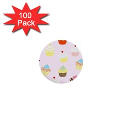 Seamless Cupcakes Wallpaper Pattern Background 1  Mini Buttons (100 pack)