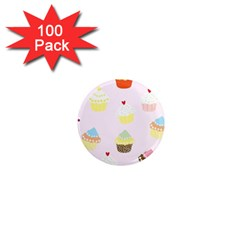 Seamless Cupcakes Wallpaper Pattern Background 1  Mini Magnets (100 pack)