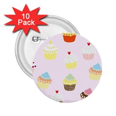 Seamless Cupcakes Wallpaper Pattern Background 2.25  Buttons (10 pack)