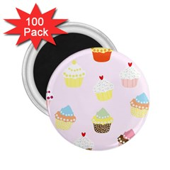 Seamless Cupcakes Wallpaper Pattern Background 2.25  Magnets (100 pack)