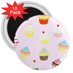 Seamless Cupcakes Wallpaper Pattern Background 3  Magnets (10 Pack)