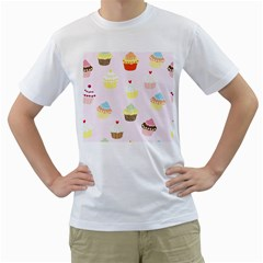 Seamless Cupcakes Wallpaper Pattern Background Men s T Shirt (white) (two Sided)