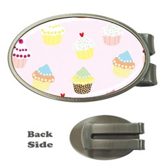 Seamless Cupcakes Wallpaper Pattern Background Money Clips (oval)