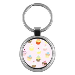 Seamless Cupcakes Wallpaper Pattern Background Key Chains (Round)