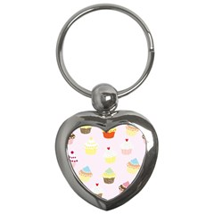 Seamless Cupcakes Wallpaper Pattern Background Key Chains (heart)