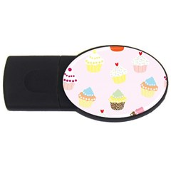 Seamless Cupcakes Wallpaper Pattern Background USB Flash Drive Oval (2 GB)
