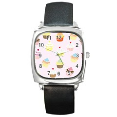 Seamless Cupcakes Wallpaper Pattern Background Square Metal Watch