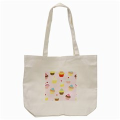 Seamless Cupcakes Wallpaper Pattern Background Tote Bag (cream)