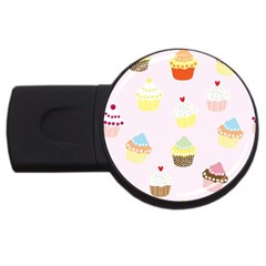 Seamless Cupcakes Wallpaper Pattern Background USB Flash Drive Round (4 GB)