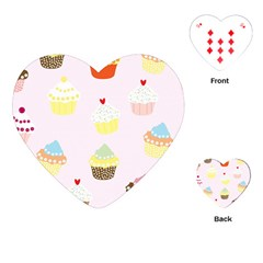Seamless Cupcakes Wallpaper Pattern Background Playing Cards (heart)
