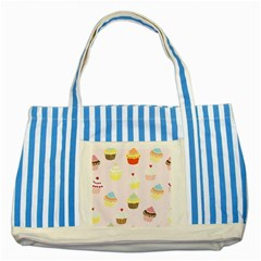 Seamless Cupcakes Wallpaper Pattern Background Striped Blue Tote Bag