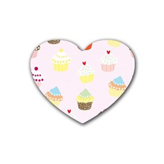 Seamless Cupcakes Wallpaper Pattern Background Rubber Coaster (Heart)