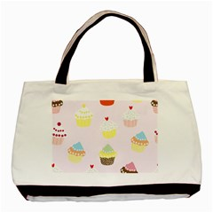 Seamless Cupcakes Wallpaper Pattern Background Basic Tote Bag (Two Sides)