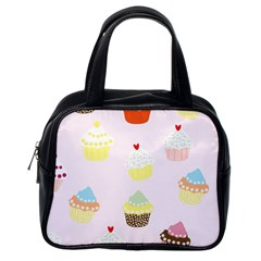 Seamless Cupcakes Wallpaper Pattern Background Classic Handbags (One Side)