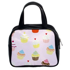Seamless Cupcakes Wallpaper Pattern Background Classic Handbags (2 Sides)