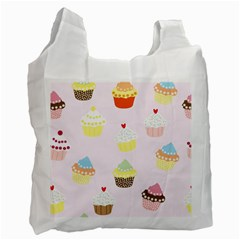 Seamless Cupcakes Wallpaper Pattern Background Recycle Bag (Two Side)