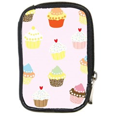 Seamless Cupcakes Wallpaper Pattern Background Compact Camera Cases