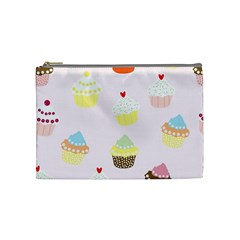Seamless Cupcakes Wallpaper Pattern Background Cosmetic Bag (Medium)