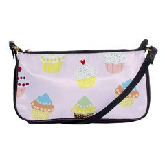 Seamless Cupcakes Wallpaper Pattern Background Shoulder Clutch Bags