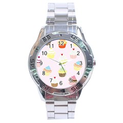 Seamless Cupcakes Wallpaper Pattern Background Stainless Steel Analogue Watch