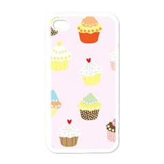 Seamless Cupcakes Wallpaper Pattern Background Apple Iphone 4 Case (white)
