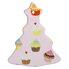 Seamless Cupcakes Wallpaper Pattern Background Christmas Tree Ornament (Two Sides)